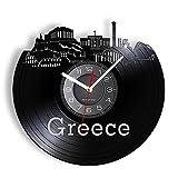 Wwbqcl Reloj de Pared Decorativo con Paisaje de Grecia Atenas, Estilo mediterráneo, Acrópolis de Atenas, Paisaje Urbano de Santorini, Reloj de Pared artístico con LED de Vinilo sin Led