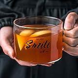 AIDEMEI Taza de vidrio con letras creativas, cinturón grande con taza de jugo taza de té de oficina taza de postre taza de desayuno de avena taza de leche 500 ml