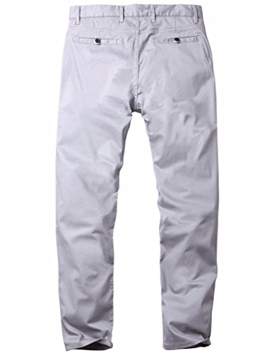 Match Men's Slim Fit Tapered Stretchy Casual Pants (34W x 31L, 8050 Light gray)
