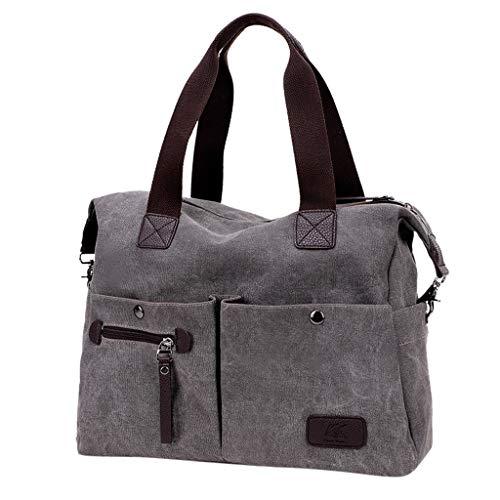 Totes Handtasche Damen mit Große Kapazität, KIMODO Canvas Messenger Bag Neue Frauen Reise Henkeltasche Schultertasche Outdoor Umhängetasche Einkaufstasche (Grau)