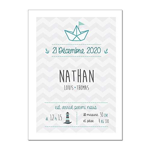 Adzif.biz ® - Poster Souvenir de Naissance Personnalisable et Unique - Lovely Garçon - Dimensions 40 x 50 cm