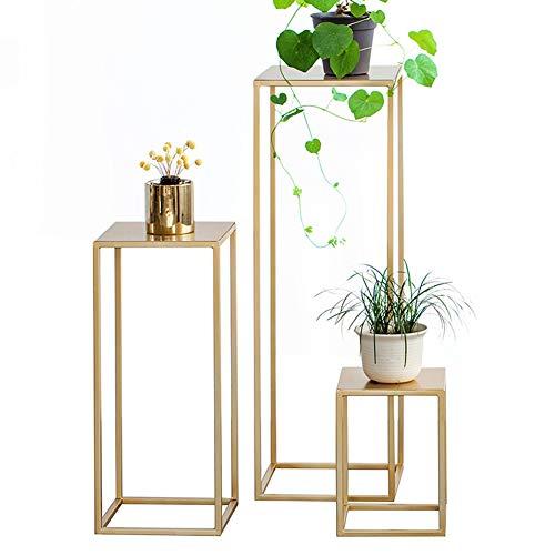 Byjia Soporte para Plantas, Maceta Suculenta con Flores De Metal, Pie Alto Decorativo para Casa, Jardín, Patio,Oro,30 * 30 * 90cm