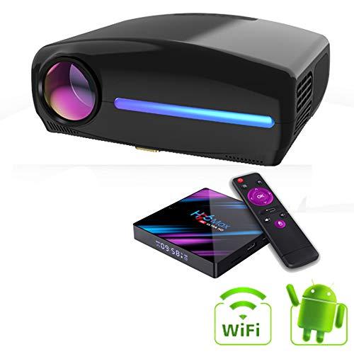 Full HD 1080P Beamer 1920 * 1080p 6000 Lumen Heimkino 4K-Projektor Eingebautes W-LAN Android tragbar Beamer mit 4D elektronische Korrektur ± 45 ° zum Zuhause Cinema Gaming,Schwarz
