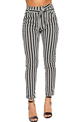 WearAll - Damen Einfarbig Gestreift Belted Tasche Krepp Damen Dünn Bein Hose - Schwarz Weiß - 38