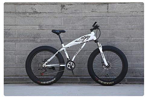 WYN Mountain Snow Bicicleta Absorción de Golpes Freno de Disco Doble Rueda Ancha Anillo Hueco Acero de Alto Carbono, Blanco