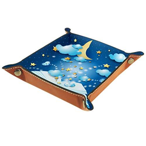rodde Bandeja de Valet Cuero para Hombres - Libro Azul Noche Cielo Luna Estrellas - Caja de Almacenamiento Escritorio o Aparador Organizador,Captura para Llaves,Teléfono,Billetera,Moneda
