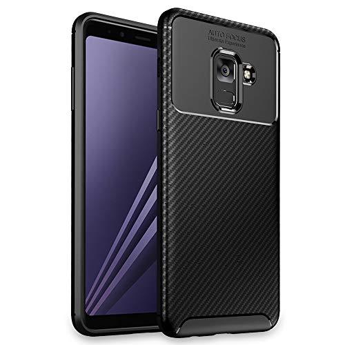 NALIA Hülle kompatibel mit Samsung Galaxy A8 (2018), Slim Silikon Hülle Cover Etui Handyhülle, Dünnes Soft Skin Phone Schutzhülle Stoßfeste Handy-Tasche Backcover Bumper Smartphone - Schwarz