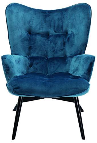 Kare Design Sessel Vicky Velvet, samt blau Loungesessel, TV-Sessel mit dunklem Holzgestell, (H/B/T) 92x59x63cm