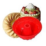 Bundt Cake Pan Silicone Baking Mold,Non-Stick Fluted Round Silicone Cake Pan,Baking Trays for Jello,Gelatin,Bread,Kitchen Bakeware Cake,9 Inches Tube Bakeware Red