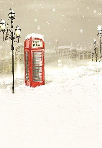 vrupi Dünner Hintergrund 3x5FT Fotografie Hintergrund Traumhafter Winter Schnee Tag Straße Straßenlaterne Telefonzelle Schneeflocken Porträts 1 (B) x 1,5 (H) m Hintergrund Video Photo Studio