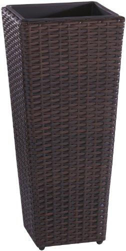 Weles GMBH Cuba para Plantas de polyrattan Marca gartenfreude Incluye Insertos plásticos para el Interior y el Exterior, marrón Bicolor, 28 x 28 x 60 cm