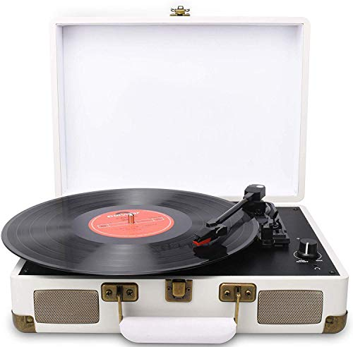 DIGITNOW! Turntable Record Player 3speeds with Built-in Stereo Speakers, Supports USB/RCA Output/Headphone Jack / MP3 / Mobile Phones Music Playback,Suitcase Design