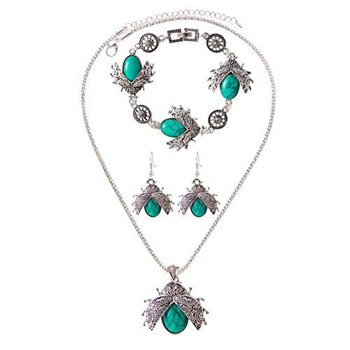 Joy Feel buy 3pcs/set mujeres Beatles Style Charm pulsera collar pendientes patrón romántico regalo para San Valentín/cumpleaños/aniversario de color verde