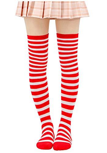 DAZCOS Striped Stockings Over Knee Thigh High Socks Anime Preppy Socks Multi color (Red+White)