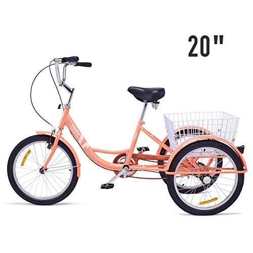 """Viribus Adult Tricycle Three Wheel Trike Bike Cruiser with XL Rear Bike Basket for Dogs or Groceries Single Speed Hybrid Commuter Exercise Bike (Pink3, 20"""")"""