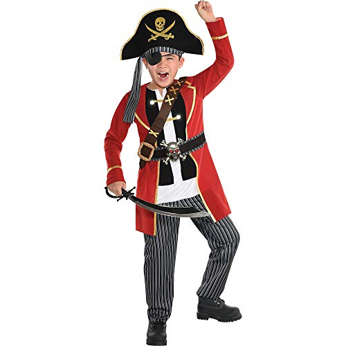 Party City Light Up Crypt Captain Pirate Halloween Costume for Boys, Small, Includes Pants, Hat, Top and Battery