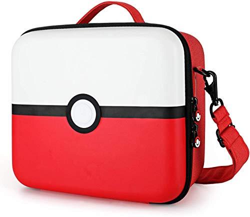 Funda para Nintendo Switch con 21 Ranuras para Tarjetas de Juego, Estuche de Almacenamiento Portátil, Bolsa de Gran Capacidad para Consola Nintendo Switch y Accesorios(Rojo & Blanco)