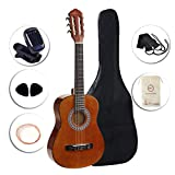 ADM Beginner Classical Guitar 1/2 size 34 Inch Nylon Strings Wooden Guitar, Sunset