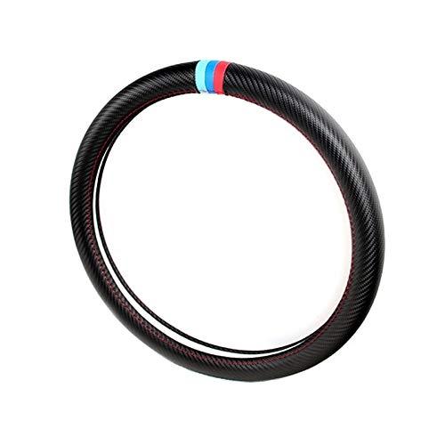 Funda Para Volante Coche Dirección 38cm la rueda de coche de la cubierta de carbono Protección de fibra for BMW X1 X3 X5 X6 E36 E39 E46 E30 E60 E90 F30 320i 325i 330i Funda Volante (Color Name : A)