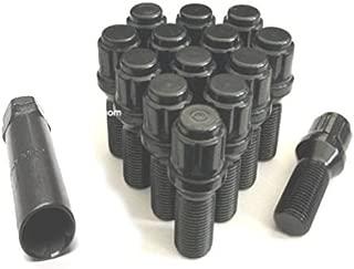 """16 Lug Nuts 1.9/"""" Long Bulge Acorn 14x2 XL Tall Black Wheel Nut Lugs Ford"""