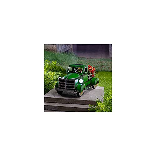Retro Style Solar Pickup Truck Garden Decoration, Truck Flower Pot, Material De Resina Duradero, Lámpara Solar Con Iluminación De Automóvil, Utilizada Para Decoración Suculenta (D)