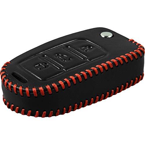 PhoneNatic Echtleder Stitched Schlüssel Hülle kompatibel mit der VW Passat 3-Tasten Fernbedienung in schwarz Klappschlüssel 3-Key