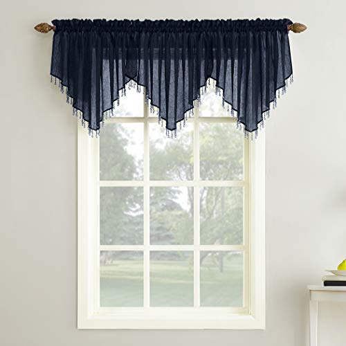 """No. 918 37356 Erica Crushed Texture Sheer Voile Beaded Ascot Rod Pocket Curtain Valance, 51"""" x 24"""", Navy Blue"""