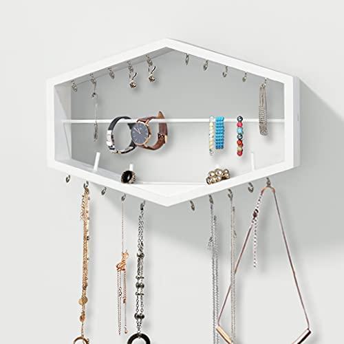 AHDECOR Organizador de joyas colgante de madera maciza para montaje en pared, diseño hexagonal, para anillos, pulseras, collares, pendientes y relojes, hecho a mano, color blanco