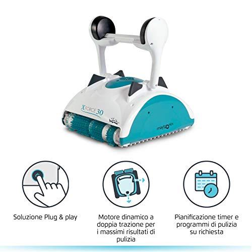 MAYTRONICS Dolphin X Force 30 Digital con RADIOCOMANDO - Robot Elettrico Pulitore per Piscina Fino a 15 Mt - Doppia Filtrazione - Novita'