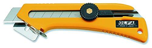 Olfa 100101 Cúter con Cuchilla de 18 mm, Bloqueo de Rueda, guía de Corte y Quita-Grapas Incorporado, Plateado