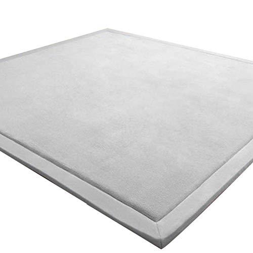 LEHOUR Verdickung Korallen Samt Teppich Kinder Krabbeldecke Weiche Tatami Teppiche Kinder rutschfeste Vergrößern Spielmatte (Grau, 150 * 150CM)