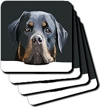 3dRose CST_214066_3 Rottweiler Portrait Vector Ceramic Tile Coasters (Set of 4)