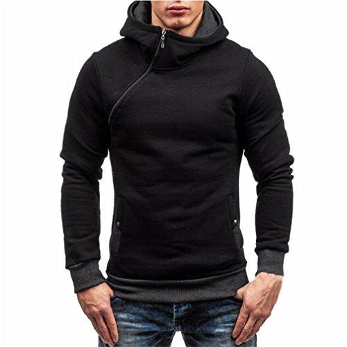 TMEOG Felpe Sportive con Cappuccio Uomo, Pullover Casuale Maglione con Cappuccio Zip Uomini di (Nero, L)