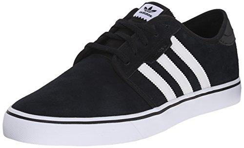 adidas Originals Men's Seeley Running Shoe, Black/White/Black,5 M US