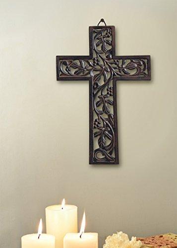 Store Indya Decorativas hechas a mano Cruz de madera Diseno tallado a mano para la pared colgante religiosa Inicio Decoracion Accesorios Crucifijo (Marron7)
