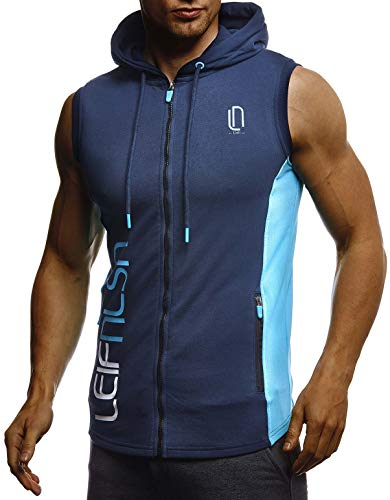 Leif Nelson Gym Herren Fitness Sport-Jacke ohne Ärmel Top Trainingsshirt Slim Fit Männer Bodybuilder Training Funktionsshirt Bekleidung für Bodybuilding Hoodie LN8289 D.Blau-Türkis XX-Large