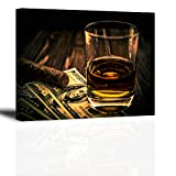 "Cigar and Wine Wall Art for Bar, PIY Whiskey Canvas Painting Prints Artwork (Waterproof Home Decor, 1"" Thick, Bracket Mounted Ready to Hang)"