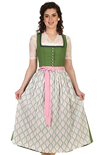 WENGER Damen Dirndl festlich mit eckigem Ausschnitt, Dirndl wadenlang Baumwolle 34 17180 14213 Laura 80cm grün Gr.46
