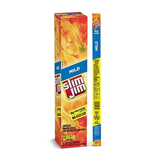 Slim Jim Giant Smoked Meat Sticks, Mild Flavor, Keto Friendly, 0.97 Oz. 24-Count