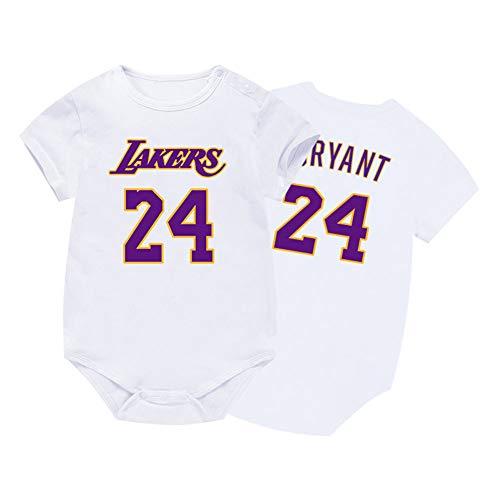 HFJLL Gilet per Neonato Manica Corta Lakers Bull l 0-15 Mesi Neonato Bambino Pagliaccetto Jersey 19 Stili,Bryant-White,66CM
