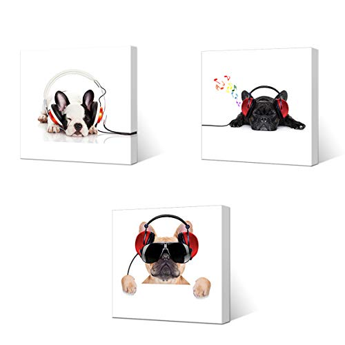 VVOVV Wall Decor - Canvas Prints Cool Dog with Sunglasses Listen to DJ Music Headphone Painting Animal Pictures Wall Decor Contemporary Giclee Artwork Stretched and Framed (12x12inchx3pcs, Dog1)
