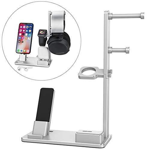 Accesorios reloj inteligente 6 en 1 aleación de aluminio Base de carga del sostenedor del soporte de la estación, conveniente for Auriculares, AirPods, iPad, reloj, el iPhone ( Color : Silver )