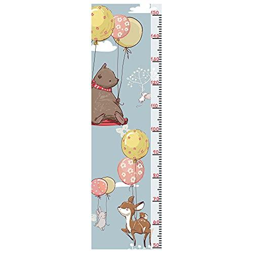 Wandtattoo - Wandaufkleber - Messlatte für Kinderzimmer - Wachstum Messlatte für die Wand - Für Mädchen & Jungs bis 150cm - Verschiedene Motive (Ballontiere)