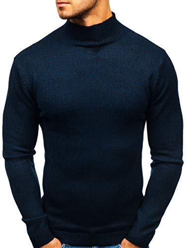 BOLF Herren Pullover Rundhalsausschnitt Strickpullover Pulli Basic Einfarbig Casual Style HOT RED H1801 Dunkelblau M [5E5]