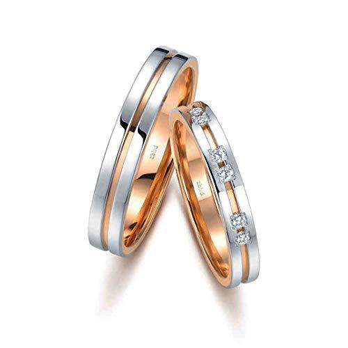 KnSam Anillo Oro Rosa de 18K Oro Blanco, Bicolor Dos Capas Anillo de Compromiso con Diamante Blanco 0.066ct, Mujer Talla 21 y Hombre Talla 20 (Precio por 2 Anillos)