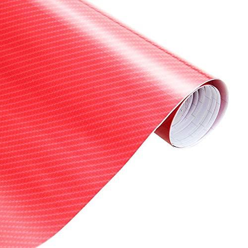 Chengxin Car Decals 30cmx152cm Motorrad-Styling-Zubehör Autos 3D-Carbon-Faser-Vinylauto-Verpackungs-Blatt Rollfilm-Auto-Aufkleber und Abziehbilder (Color Name : Red, Größe : 152cmx10cm)