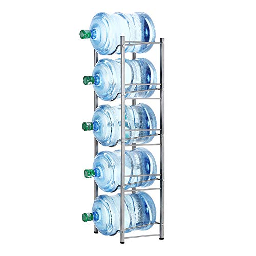 5-Tier Water Cooler Jug Rack - 5 Gallon Water Bottle Storage Rack Jug Holder - Heavy Duty Bottle Buddy with Floor Protection for Kitchen Office Home, Silver