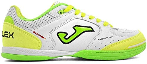 Joma Top Flex, Zapatilla de fútbol Sala, White-Yellow, Talla 8.5 US (42 EU)