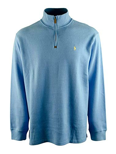 Polo Ralph Lauren Men's Half Zip French Rib Cotton Sweater (Small, Grey Heather/Navy Pony)