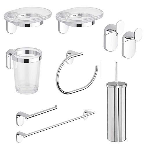 METAFORM Zero Kit Accessori Bagno A Parete, Acciaio Cromato, LEGHE Metalliche, San E ABS, 8 Pezzi
